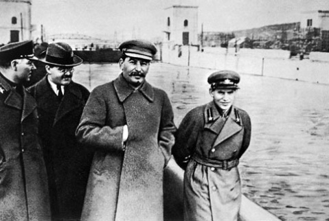Stalin with Nikolai Yezhov in 1930....